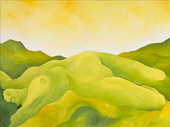 "Green Mountain Goddess Acrylic on Canvas 30"" x 40"""