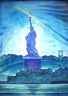 """The Landscape of 21C Lady Liberty_ And A Spectrum of Blues  (triptych) Hard Pastels with Multi-media 44"""" x 31.5"""""""