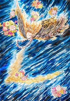 "Night Flight Watercolor on Paper 22"" x 15"""
