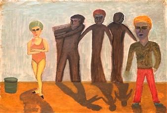 "Cygan Sad Family and Love Oil on Canvas 23.5"" x 33.5"""