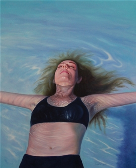 """Dreaming in the Pool Oil on Canvas 32"""" x 25.5"""""""