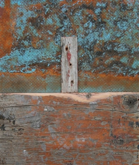 """Paesaggi in Allerta Meteo No 1 Left Up Mixed Media on Wood 24"""" x 24"""""""