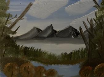 """Lakeside Mountain BB Oil on Canvas 18"""" x 24"""""""