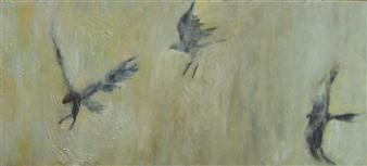 "Three Dreams Oil on Birch Panel 10"" x 22"""