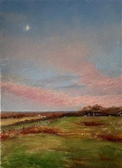 "Moonrise over Teddy Roosevelt County Park Oil on Panel 7"" x 5"""