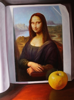 Bodegón de Libro y Manzana
