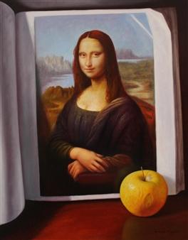 "Bodegón de Libro y Manzana Oil on Canvas 36.5"" x 28.5"""