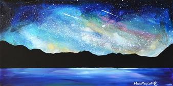 "Lakeshore Night Sky Acrylic on Canvas 12"" x 24"""