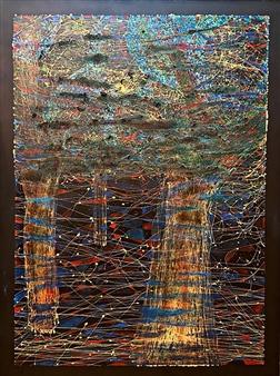 """Three Trees. Ayahuasca in G Mayor Mixed Media on Canvas 48"""" x 36"""""""