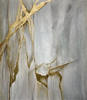 "Golden Mixed Media & Encaustic on Canvas 70"" x 60"""