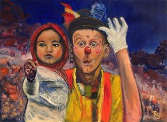"""Le clown Oil on Canvas 19.5"""" x 27.5"""""""