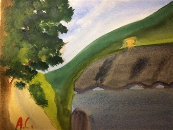 """Cottage Watercolor on Paper 9"""" x 12"""""""