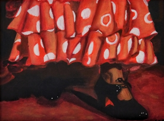 "Zapatito Andaluz Acrylic on Canvas 12"" x 15.5"""