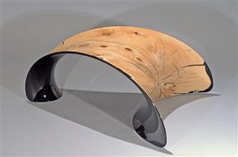 "Stool Carbon Fiber and Wood 28"" x 35.5"" x 14"""