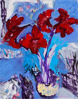 """Red Amaryllis with Brushes and Knives Acrylic on Canvas 30"""" x 24"""""""