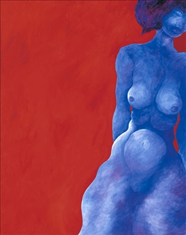 """Blue Lady in Red Room 1 Acrylic on Canvas 48"""" x 36"""""""