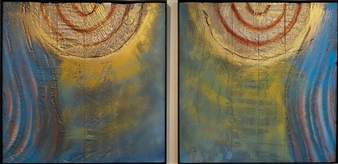 """Jane Says, diptych Mixed Media on Industrial Substrate 49.5"""" x 99"""""""