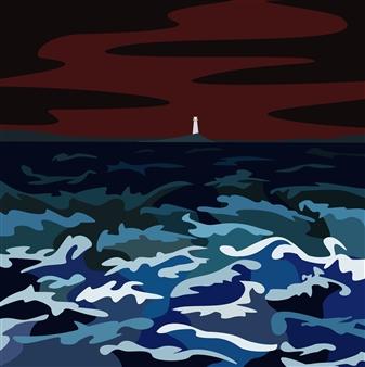"Storm Off Belle Island Digital Print on Paper 18"" x 18"""
