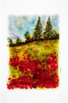 """Poppies Glass Painting 7"""" x 5"""""""