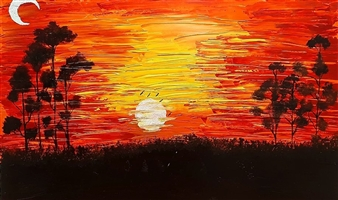 "Sunset Acrylic on Canvas 24"" x 22"""