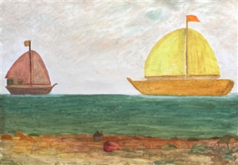 """Two Boats Oil on Canvas 23.5"""" x 31.5"""""""