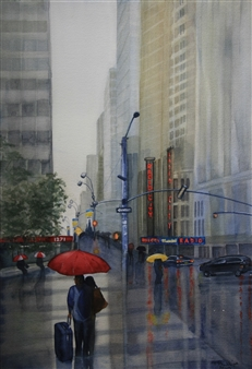 """The Red Umbrella Watercolor on Paper 22"""" x 15"""""""