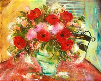 """My Tender Red Heart Bouquet Acrylic on Canvas 32"""" x 39.5"""""""