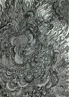 """Floating Ⅰ Pen on Paper 13"""" x 9.5"""""""