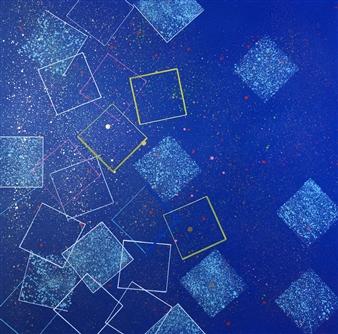 "Carrés Sur Fond Bleu Spraypaint & Felt Tip Marker on Canvas 39.5"" x 39.5"""