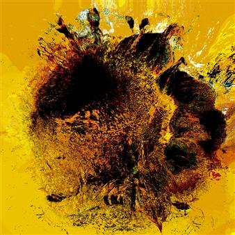 "Girasol Amarillo Digital Work on Wood 31.5"" x 31.5"""