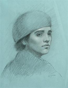 "Blue Lisa Charcoal on Paper 20"" x 16"""