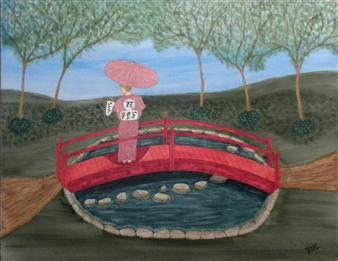 """Japanese Garden Watercolor on Board 19"""" x 23"""""""
