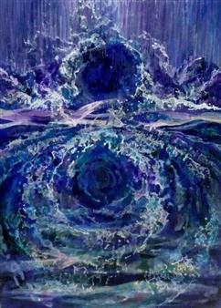 "Constant Movement of Circulation III Acrylic on Canvas 13.5"" x 9.5"""