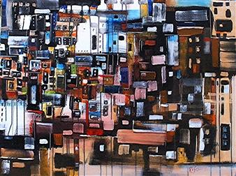 """Organized Chaos Acrylic & Oil on Canvas 30"""" x 40"""""""