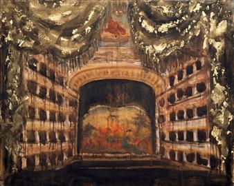 """Teatro di San Carlo Oil & Pastel on Canvas 31.5"""" x 39.5"""""""