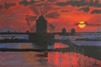 """Molinos de Trapani Acrylic on Canvas 27.5"""" x 19.5"""""""