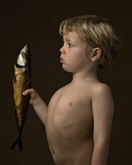"""Boy with a Fish Digital Photography 24"""" x 20"""" <span style='color:red;'>Sold</span>"""