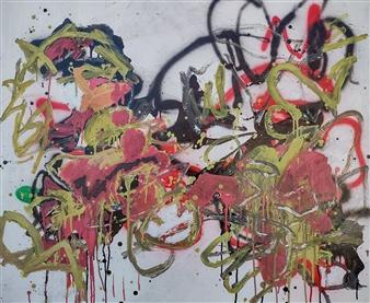 "Wen 1 Acrylic & Oil on Canvas 41.5"" x 37.5"""