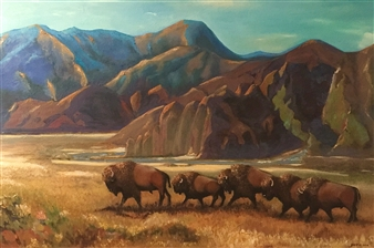 """Transhumance of Bison Oil on Canvas 59"""" x 39.5"""""""