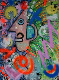"Mad Max Acrylic & Spraypaint on Canvas 31.5"" x 23.5"""