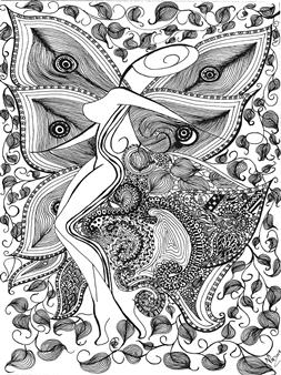"El Jardin de Gozo Black Fine Point Pen & Colored Markers on Paper 17"" x 11"""