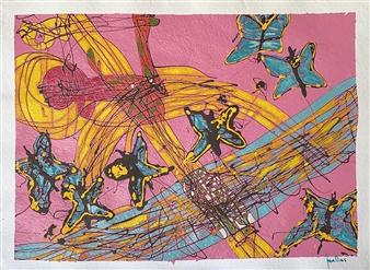 "Butterflies Acrylic on Paper 23"" x 30"""