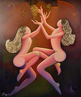 """Women and Grapes Acrylic on Canvas 47"""" x 39.5"""""""