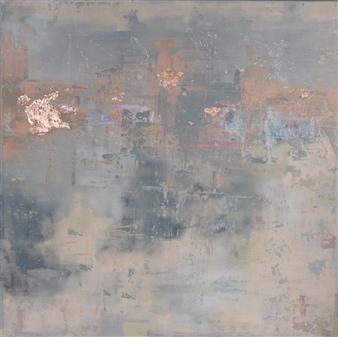 "Allurement Acrylic & Copper Leaf on Canvas 39.5"" x 39.5"""
