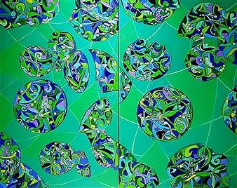 "Mandala 3 Oil on Canvas 46"" x 57"""