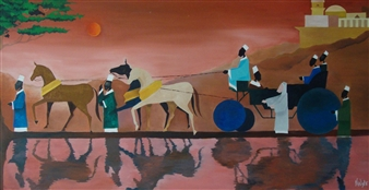 """The Royal Procession Of the Ethiopian Eunuch Oil on Canvas 48"""" x 60"""""""