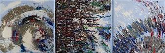 """Dans la Neige, triptych Acrylic on Canvas 8"""" x 24"""""""
