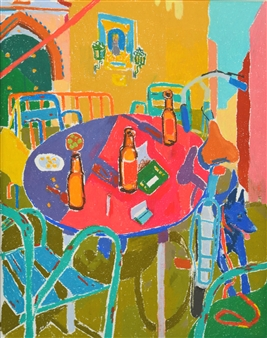 """Beers in Andalusia. Pastel on Paper 19"""" x 14"""""""