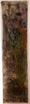 "Naturaleza Uno. Naturaleza Muerta Acrylic & Mixed Media on Linen Canvas 90.5"" x 23.5"""