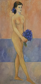 Model with Blue Flowers